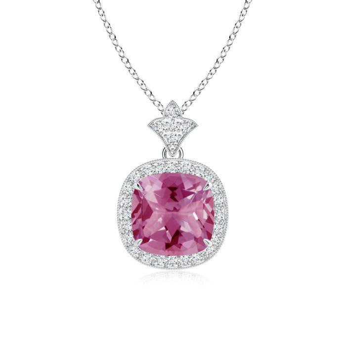 Claw Set Pink Tourmaline Diamond Pendant with Milgrain Detailing - Angara.com