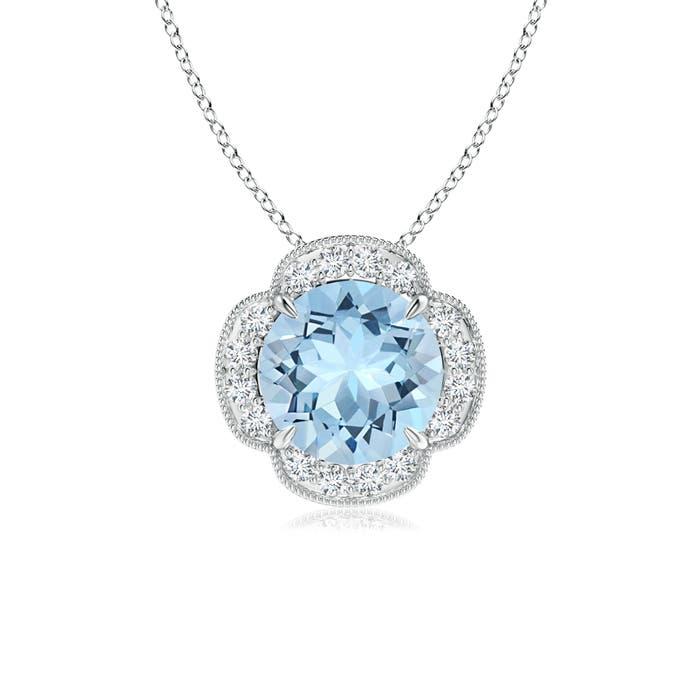 Angara Claw-Set Aquamarine Clover Pendant with Diamonds z4EvUv