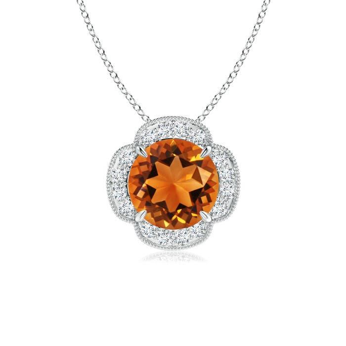 Claw Set Diamond Halo Citrine Clover Pendant - Angara.com