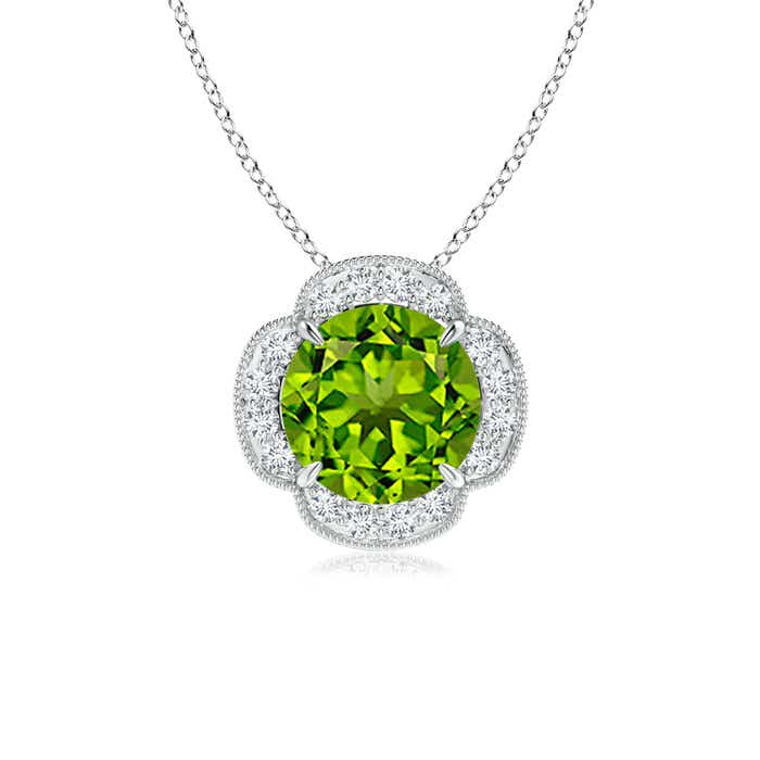 Angara Claw-Set Peridot Clover Pendant with Diamonds JOAZq6Xsh