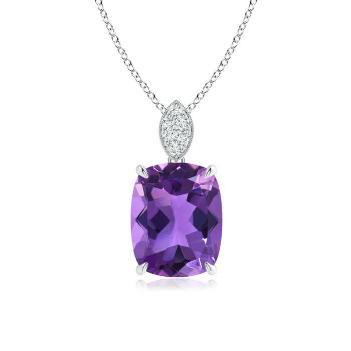 Angara Pear Amethyst Diamond Pendant in Platinum KKpC4w