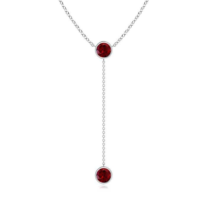 By Yard Bezel-Set Round Garnet Drop Necklace - Angara.com