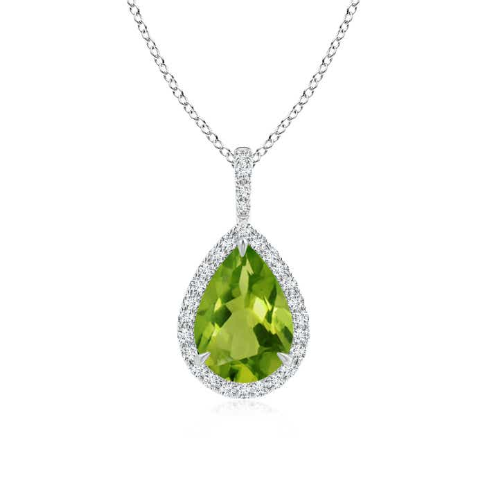 Angara Pear Teardrop Peridot Diamond Halo Vintage Necklace in Platinum 6LauNcCN1B