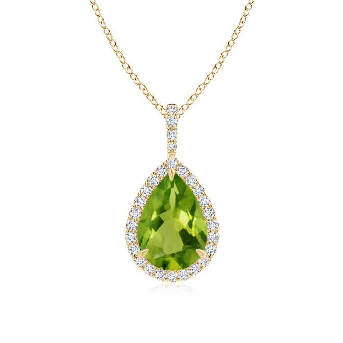 Diamond Halo Pear Shaped Peridot Drop Pendant - Angara.com