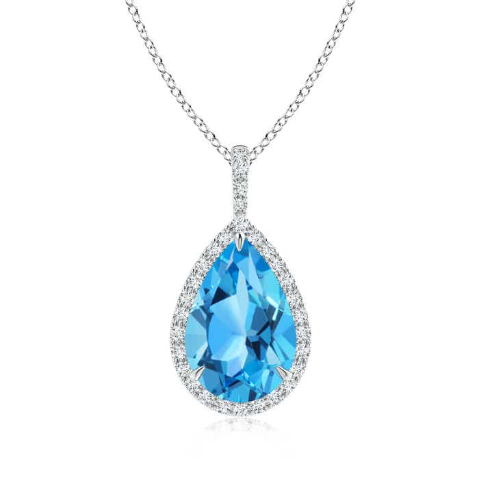 Angara Square Swiss Blue Topaz Diamond Halo Necklace in 14K White Gold