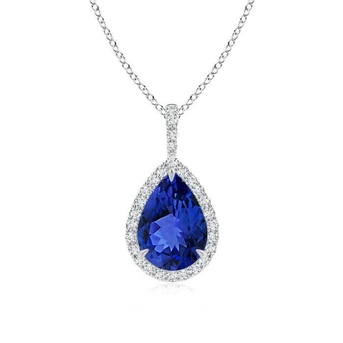 Diamond Halo Pear Shaped Tanzanite Drop Pendant - Angara.com