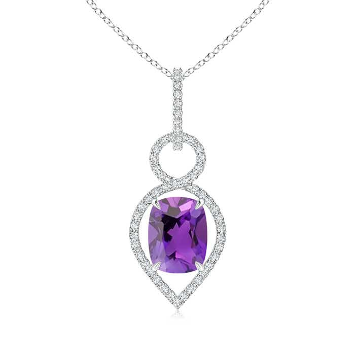 Angara Cushion Tanzanite Infinity Drop Pendant with Diamonds