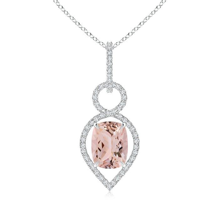 Cushion Morganite Infinity Drop Pendant with Diamonds - Angara.com