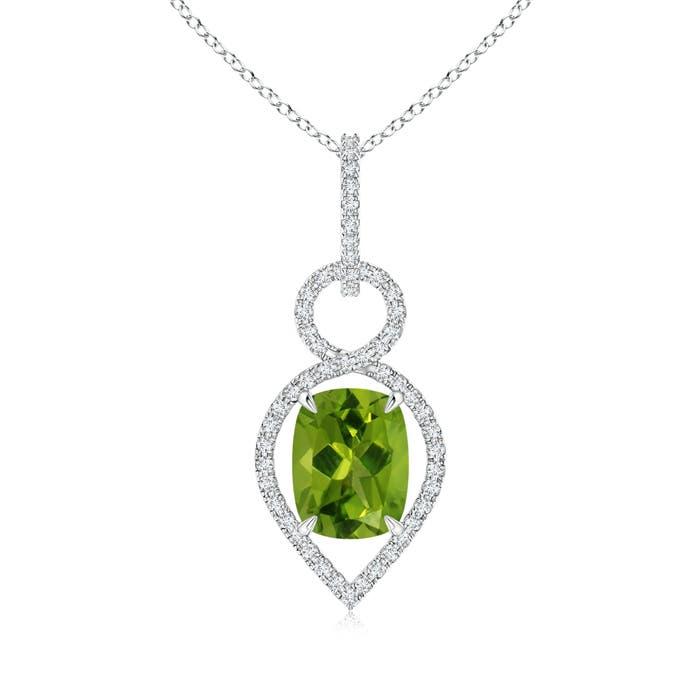 Cushion Peridot Infinity Drop Pendant with Diamonds - Angara.com
