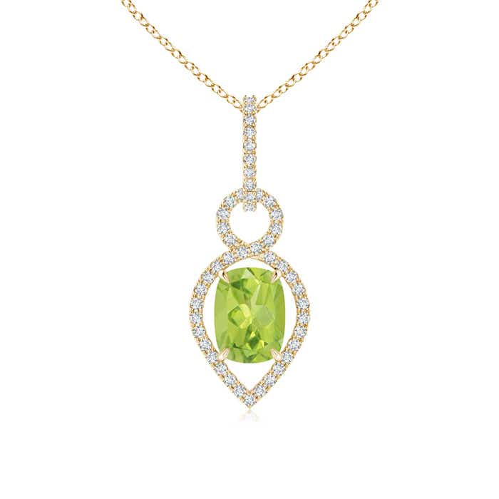 Angara Cushion Peridot Necklace in White Gold DBJGgP
