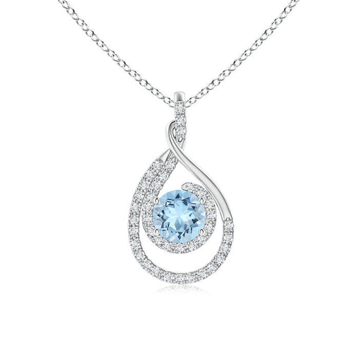 Double Loop Twist Aquamarine and Diamond Halo Pendant - Angara.com