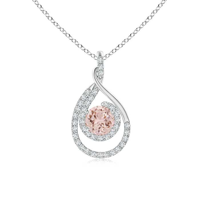 Double Loop Twist Morganite and Diamond Halo Pendant - Angara.com