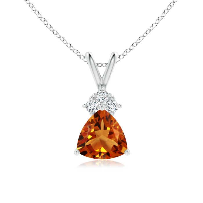 Trillion Citrine Solitaire Pendant with Trio Diamonds - Angara.com