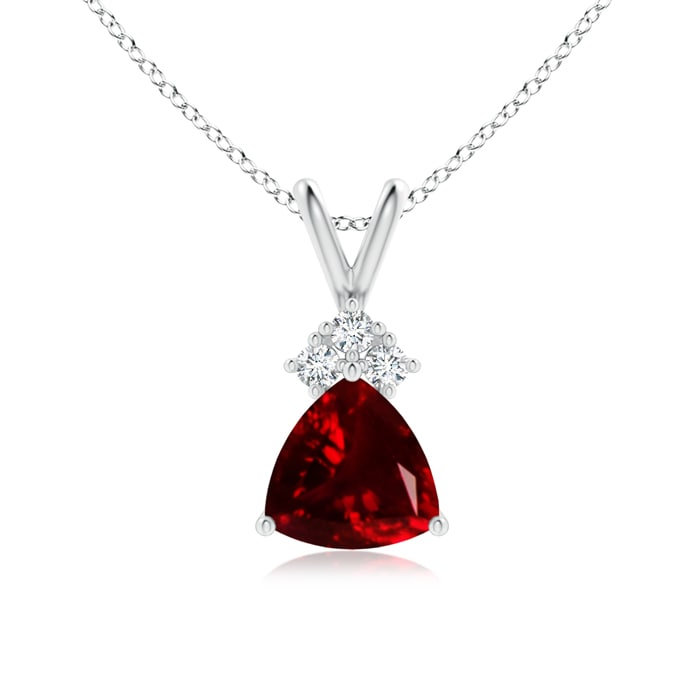 Trillion Garnet Solitaire Pendant with Trio Diamonds - Angara.com