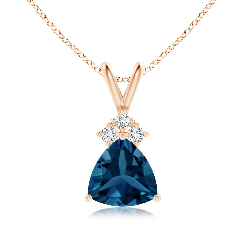 Angara Trillion London Blue Topaz Wishbone Pendant with Diamond XuDZwVZ