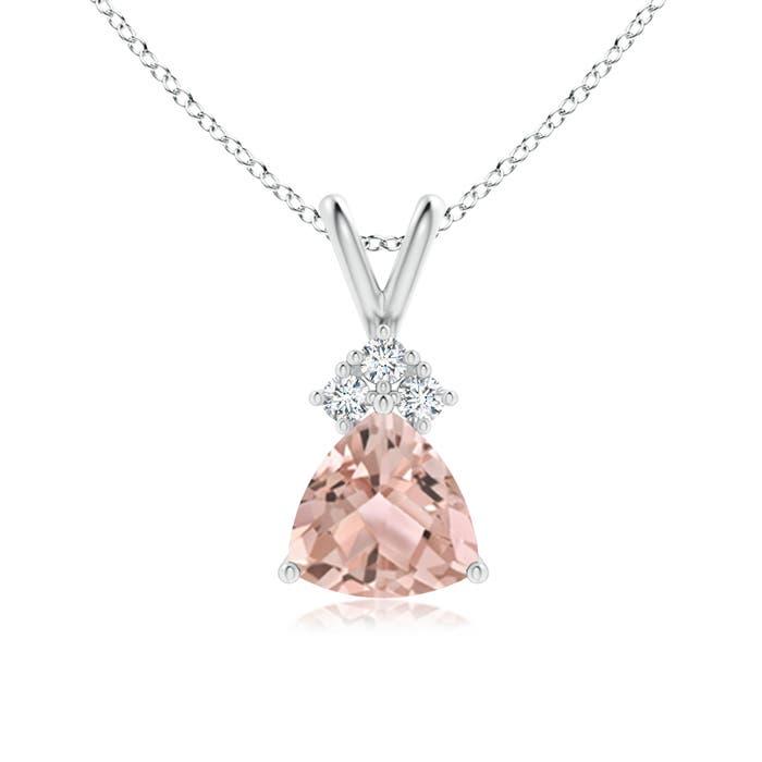 Angara Trillion Citrine Solitaire Pendant with Trio Diamonds in Platinum ygsCBB