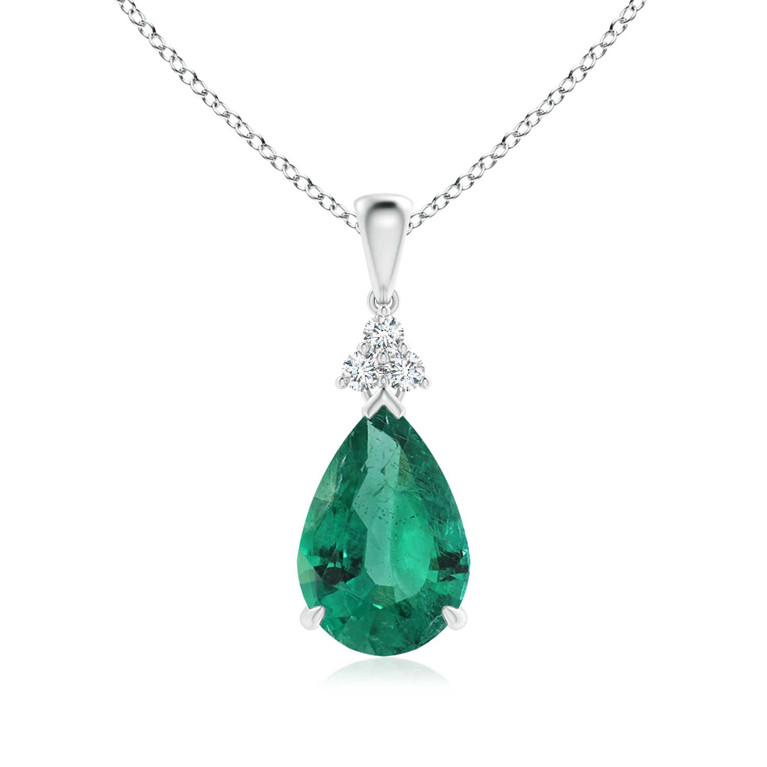Angara Emerald Necklace - Claw-Set GIA Certified Emerald Drop Pendant with Diamonds