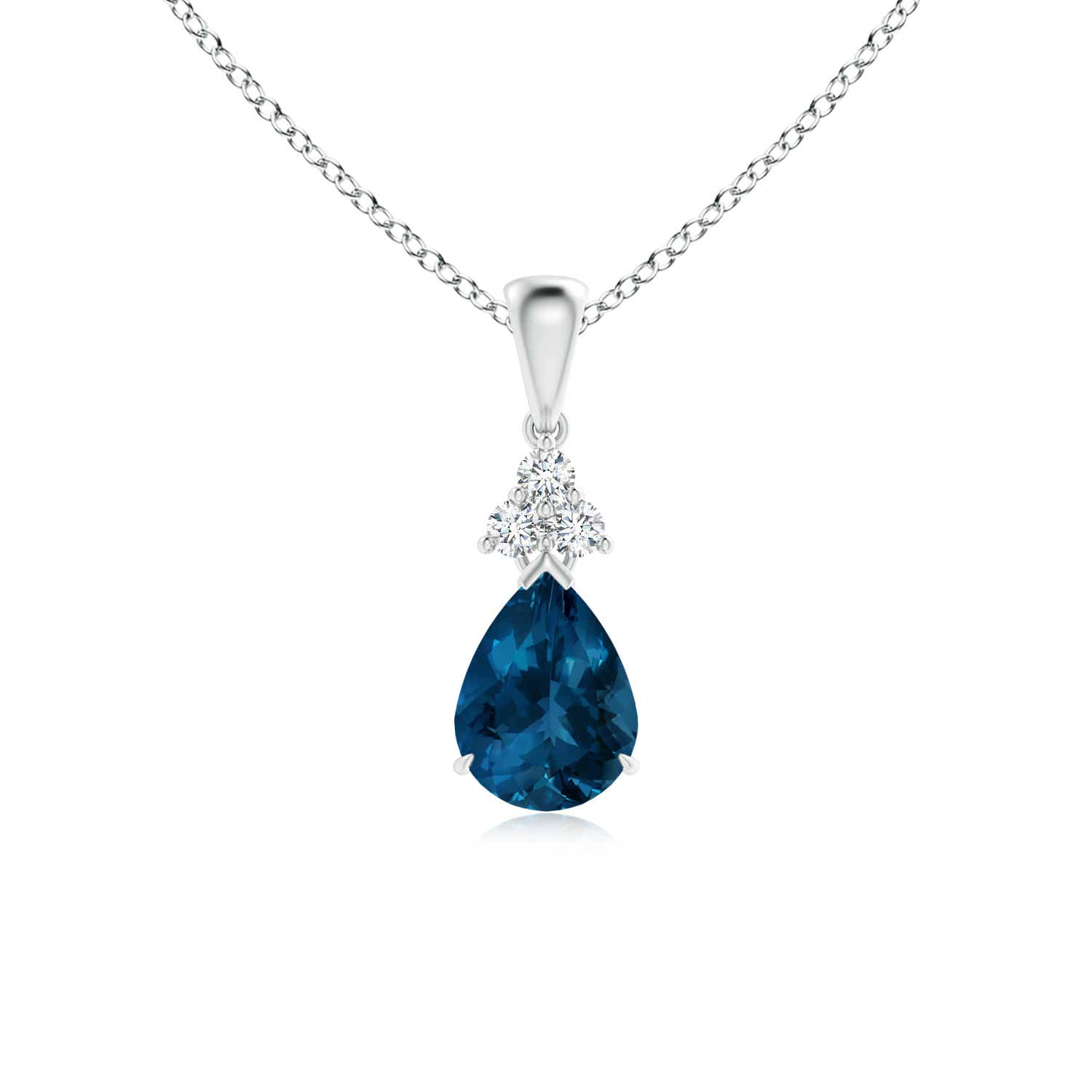 Angara Natural Swiss Blue Topaz Teardrop Necklace in White Gold B0aDZ