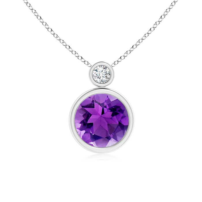 Angara Bezel-Set Amethyst Necklace in Yellow Gold AVFEuTQu