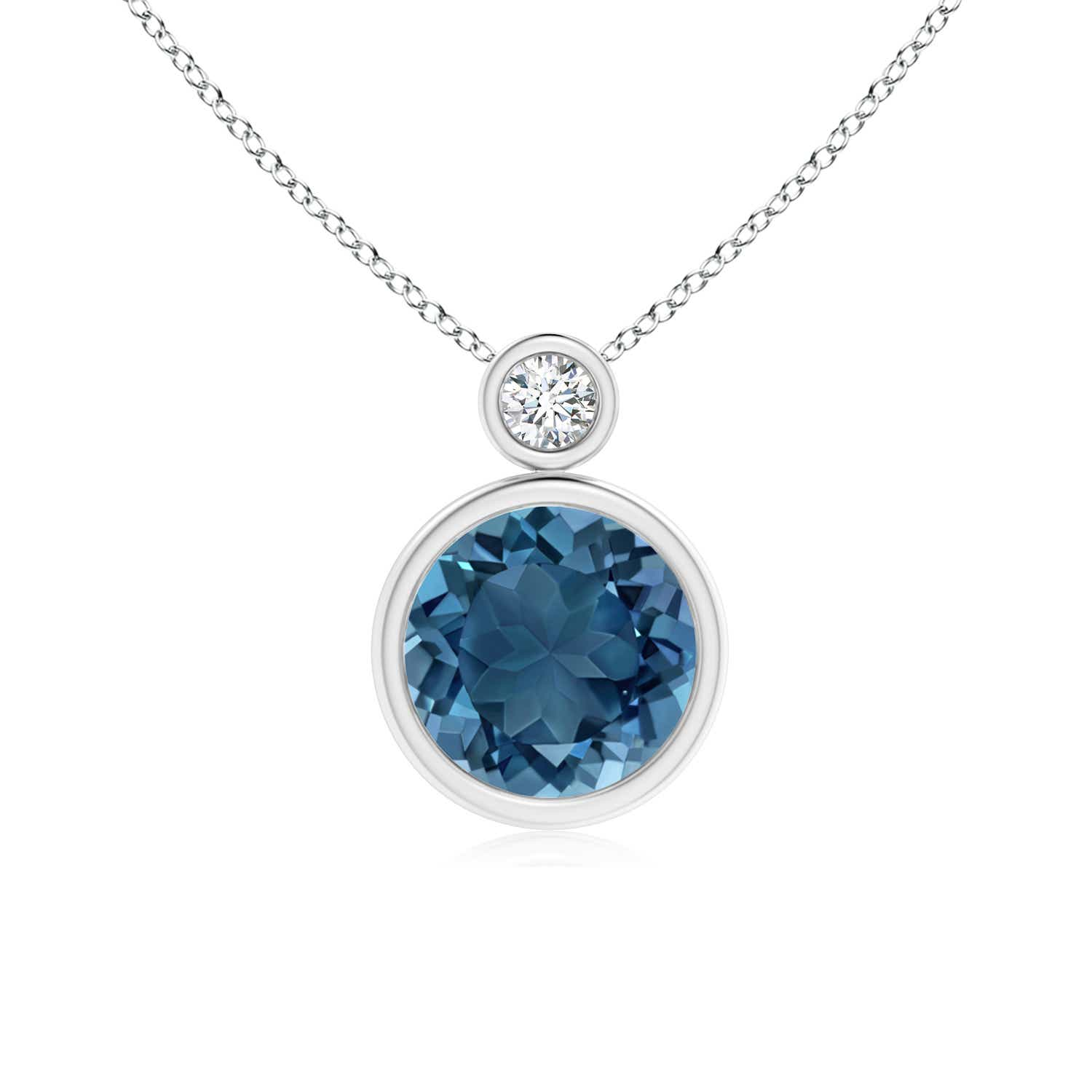 Angara Natural London Blue Topaz Bezel-Set Pendant in White Gold 3tEsS0C