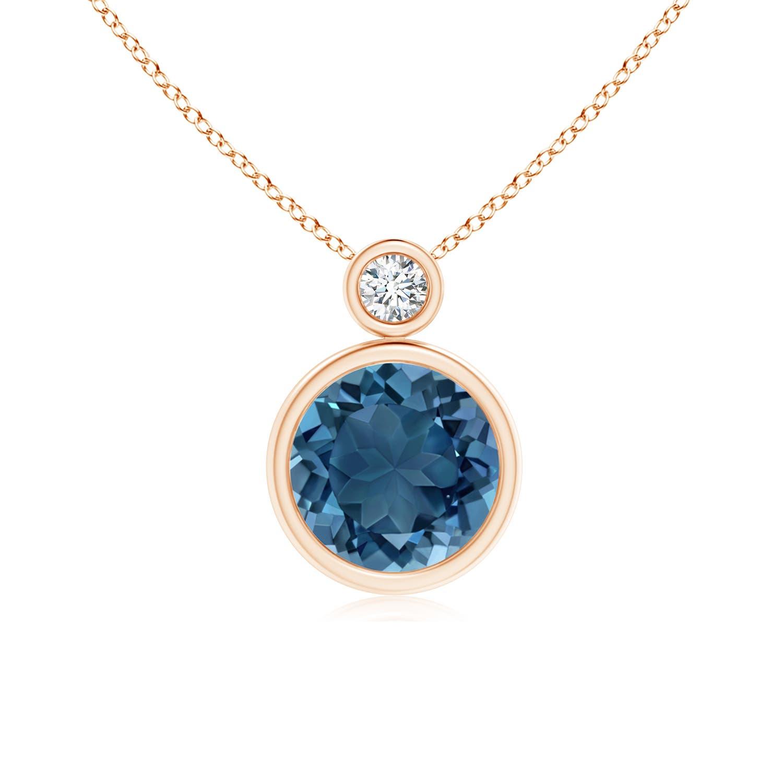 Angara London Blue Topaz and Diamond Pendant in White Gold 1ebMPS43
