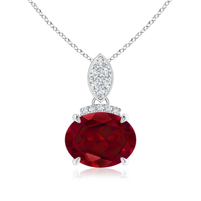 Angara Cushion Garnet Pendant with Diamond Leaf Bale SWWeitz96