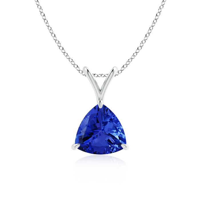Angara V Bale Claw Set Trillion Tanzanite Necklace in Yellow Gold 6zhDTN