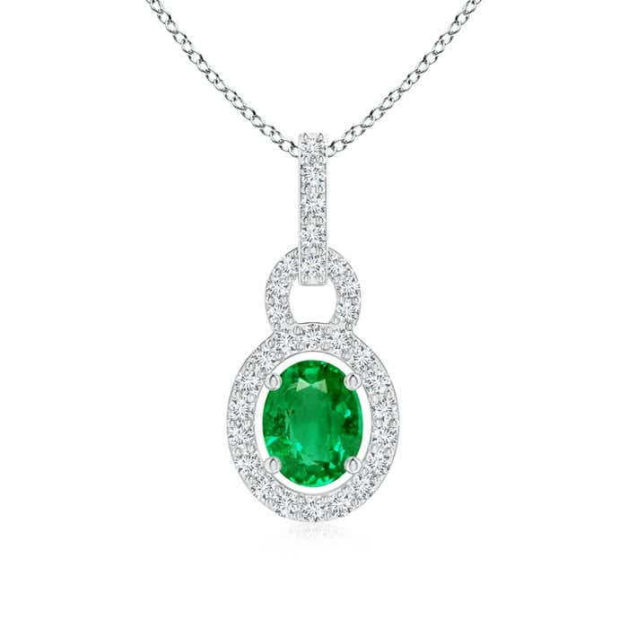 Angara Natural Emerald and Diamond Halo Necklace in Platinum bKW8Pl