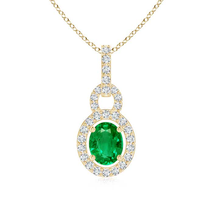Diamond Halo Floating Oval Emerald Pendant - Angara.com