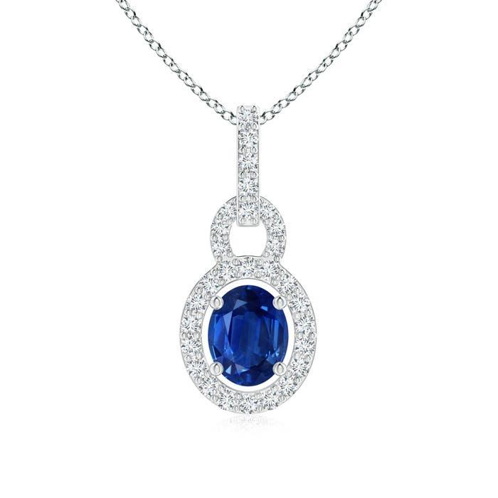 Diamond Halo Floating Oval Blue Sapphire Pendant - Angara.com