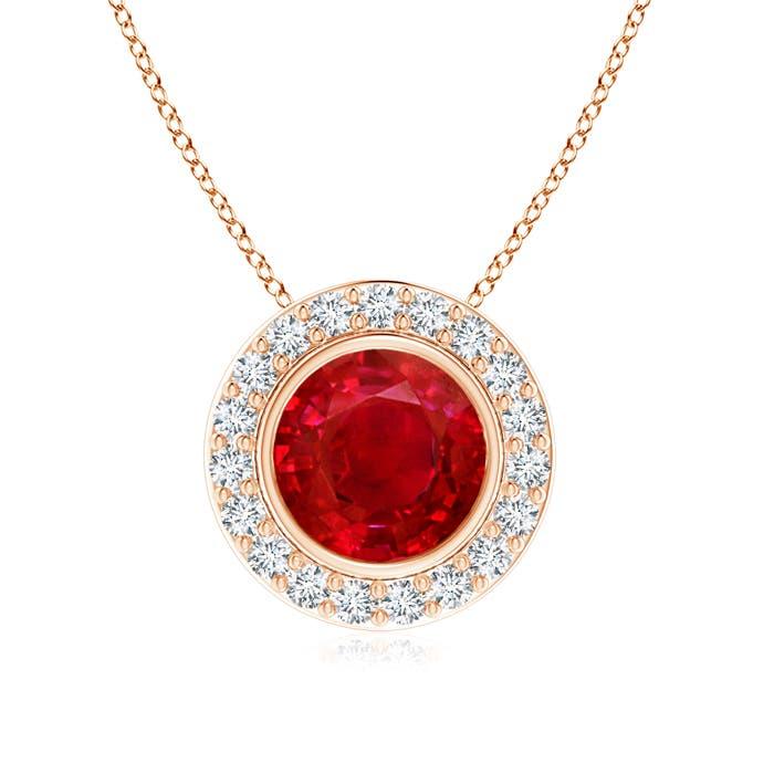 Angara Natural Ruby Bezel-Set Necklace in Rose Gold vGGliv