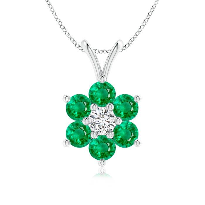 Classic Six Petal Emerald Flower Pendant with Diamond - Angara.com