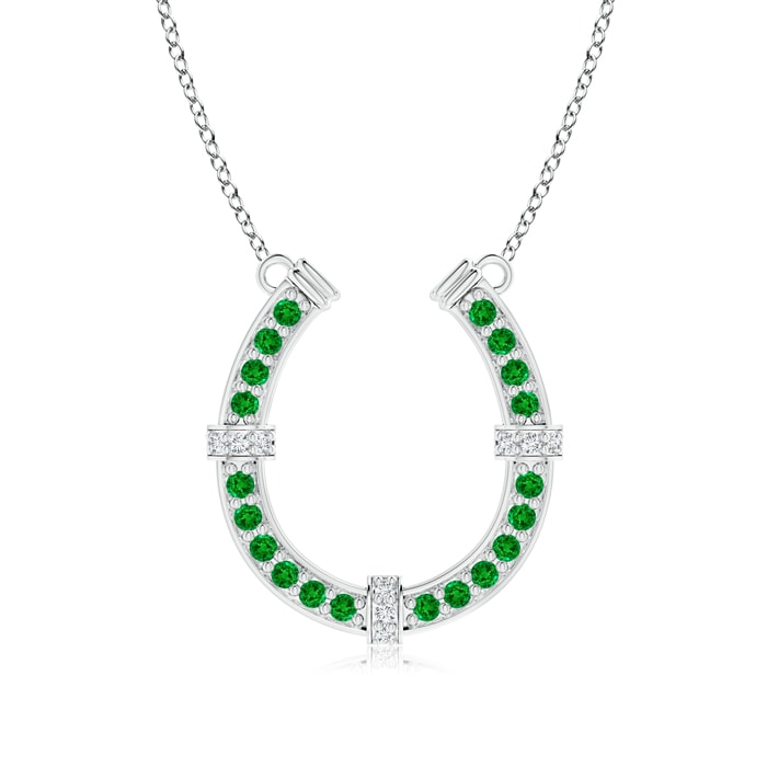 Pave Set Emerald And Diamond Horseshoe Pendant Necklace Angara