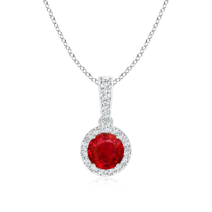 Dangling Ruby Pendant Necklace with Diamond Halo - Angara.com