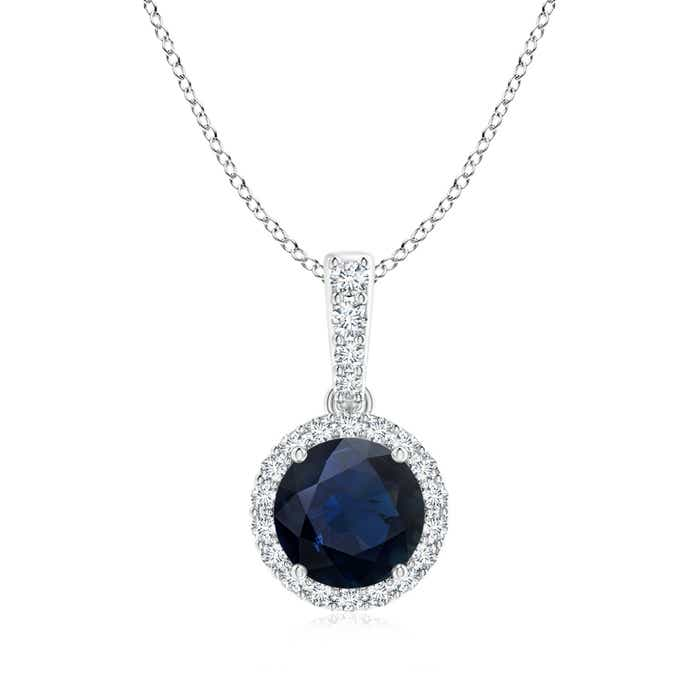Angara Natural Sapphire Solitaire Necklace in 14k White Gold znhbW
