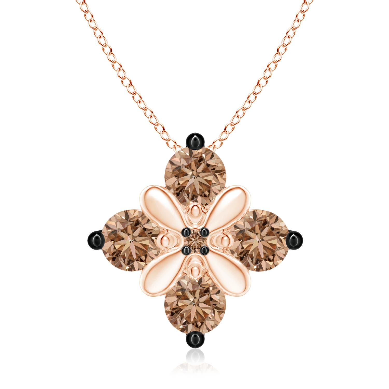 Coffee Diamond Floral Cluster Pendant - Angara.com