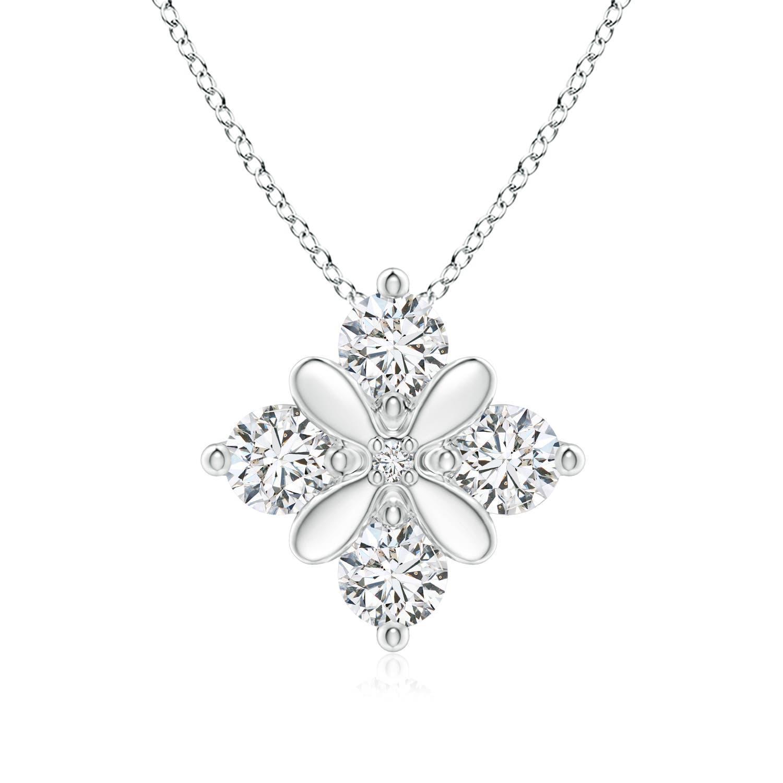 Four-Stone Studded Floral Diamond Pendant - Angara.com