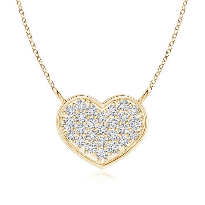Cluster Heart Shaped Round Diamond Pendant Necklace - Angara.com