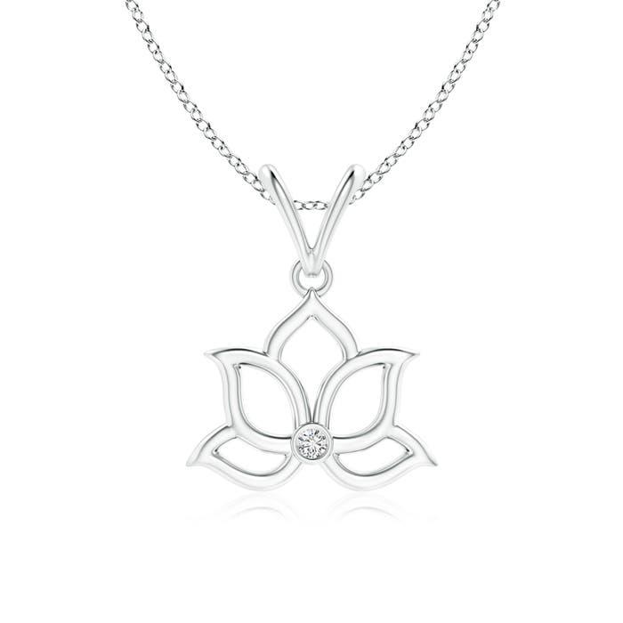 Bezel Set Diamond Lotus Flower Pendant Angara