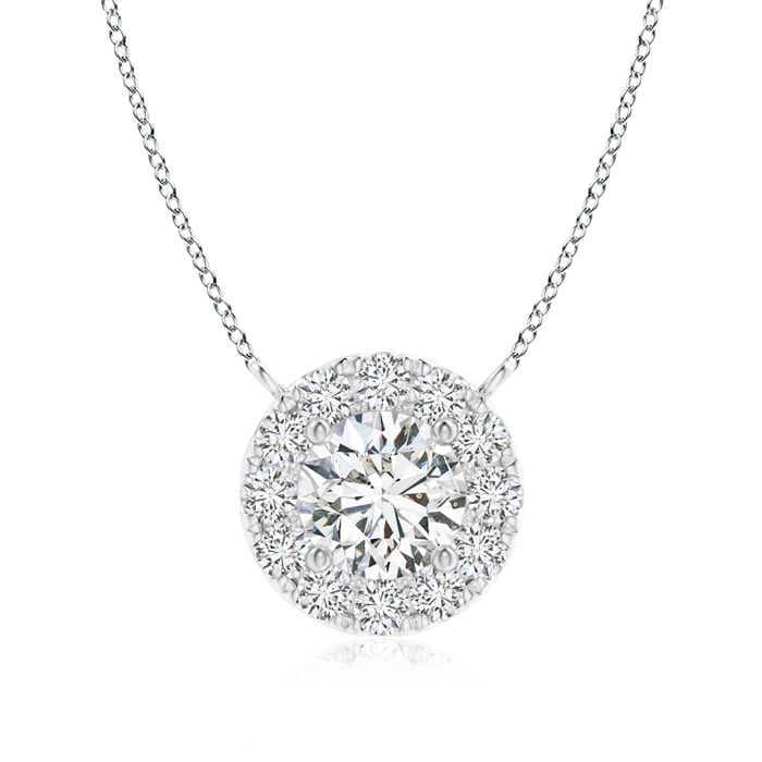Round diamond necklace with halo angara aloadofball Gallery