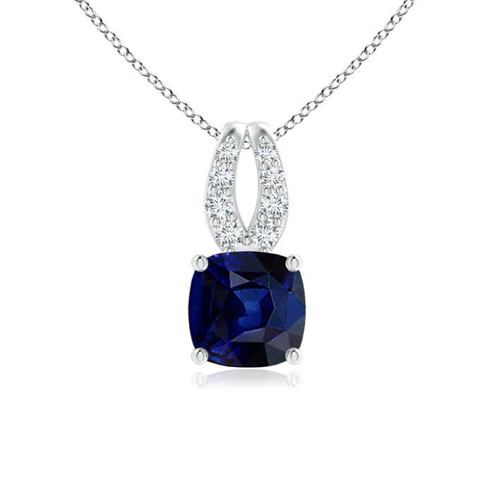 Cushion Blue Sapphire Solitaire Pendant with Diamond Accent - Angara.com