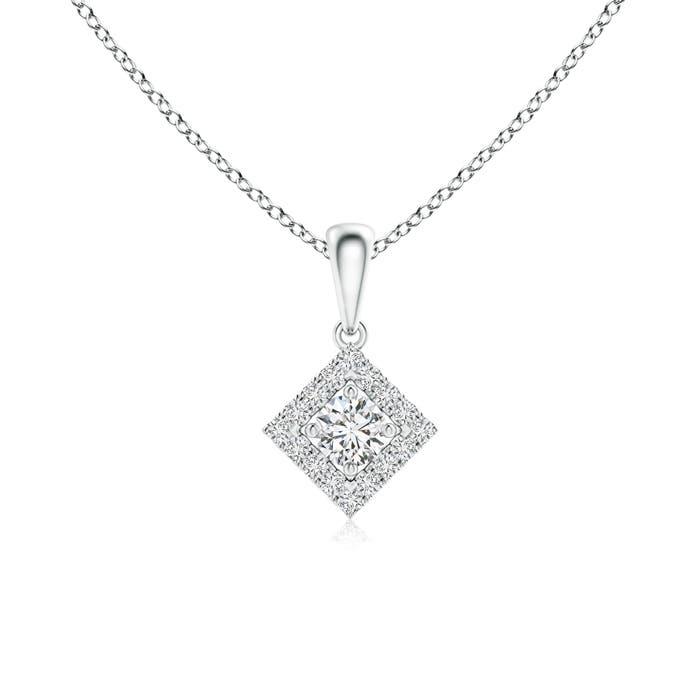 Angara Square-Shaped Dangling Diamond Pendant with Halo K9AnhzX