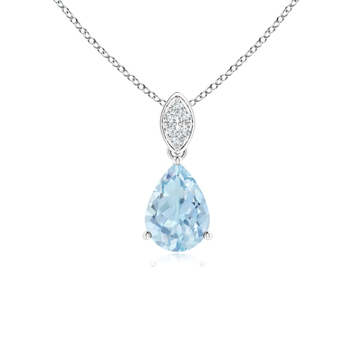 Angara Pear Aquamarine Diamond Pendant Necklace in Rose Gold xEWIb3H9f