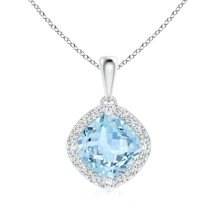 Cushion Sideways Aquamarine with Diamond Halo Pendant - Angara.com