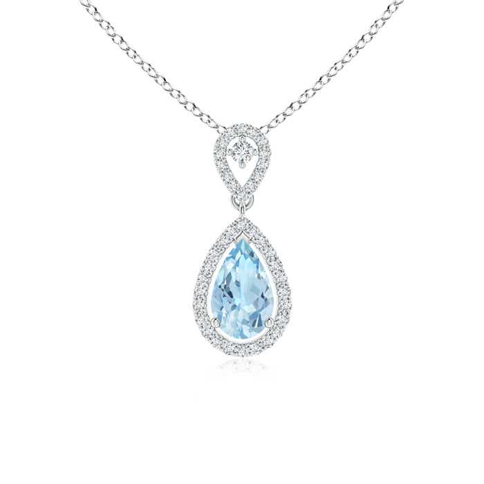 Angara Diamond Halo Aquamarine Drop Pendant Platinum du0zQ4gM