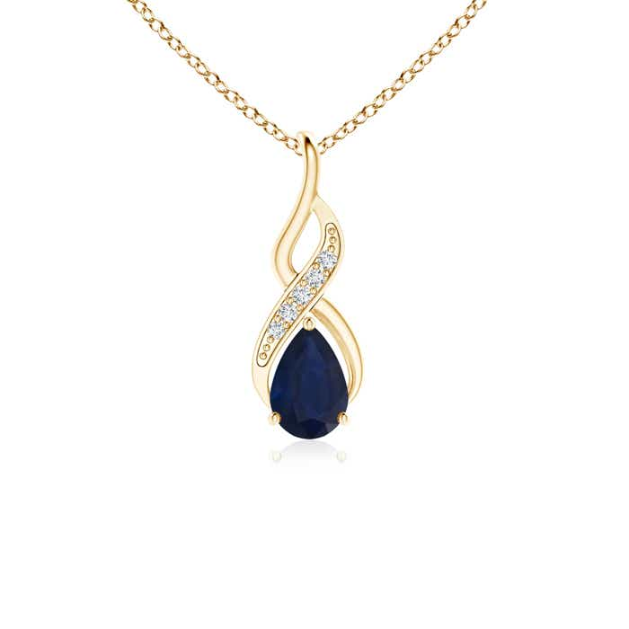 Angara Pear Blue Sapphire Drop Pendant in White Gold nQM6kLEVD
