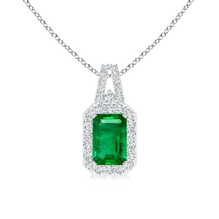 Emerald-Cut Emerald and Diamond Frame Pendant with Prong-Set - Angara.com