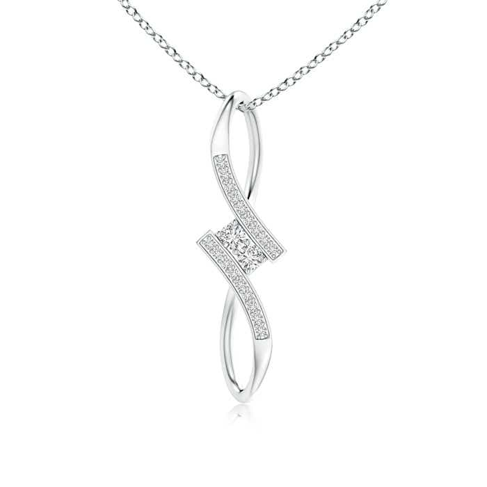Two Stone Diamond Bypass Pendant Necklace - Angara.com