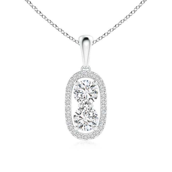 Angara Cushion-Shaped Composite Diamond Halo Pendant