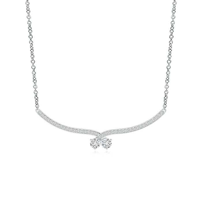 Angara Classic Diamond Curved Bar Necklace xmGnnS